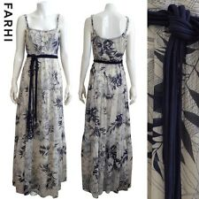 Designer NICOLE FARHI Blue and White Printed Maxi Dress Size 12
