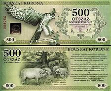 HUNGARY 500 BOCSKAI KORUNA 2012 CURRENCY UNC BIRD / PIG