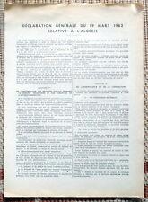 Document ancien - Déclaration générale du 19 mars 1962 - Algérie
