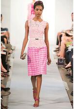 S'13 ICONIC ROMANTIC MAGICAL GORGE 2DIE4 Oscar De La Renta pink lace/tweed dress