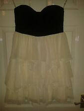Womens Strapless Sleeveless Dress - Lipsy, London - Black & Cream - Ruffle - 10
