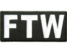 "(C22) FTW 3.25"" x 1.5"" iron on patch (1491) F*CK THE WORLD  Biker Jacket Vest"