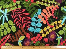 Colorful Plants Leaves Print cotton fabric BY THE YARD
