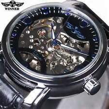 WINNER Mechanical Watch for Men with Skeleton Blue Dial Automatic Full Steel