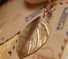 Beauty Lady Lucky Golden Leaf Pendant Long Chain Sweater Necklace Jewelry Gift E