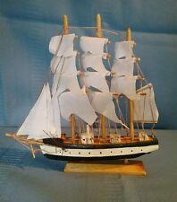 Wood Model 3 Mast Sailing Ship Schooner Boat Nautical Decor Cotton Sails