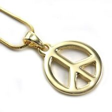 Peace Sign Charm Pendant Necklace High Polish Gold Tone Snake Chain Jewelry c1