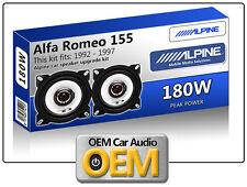 """ALFA Romeo 155 Anteriore DASH ALTOPARLANTI ALPINE 10CM 4 """"AUTO KIT Altoparlante 180W MAX"""