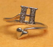 925 Sterling Silver Letter H Ring