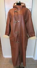 Sawyer of Napa Long Leather Shearling Duster Coat Brass Hook Closures Sz M/50