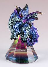 "Small Blue/Purple Dragon On Pyramid Glass Figurine 3"" High Resin New In Box"