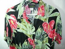 WOMENS BLACK GREEN RED KAUAIANA ANTHURIUM RAYON HAWAIIAN SHIRT BLOUSE SIZE S 40