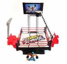 WWE WWF TNA WRESTLING Rumblers destroyable azione Anello PLAYSET + PERSONAGGI