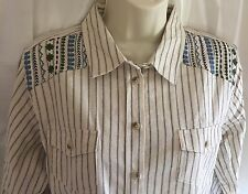NWT Women's Wrangler Country Western Embroidered L/S Striped Button Up Shirt Med