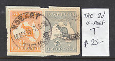 "ROOS  4d ORANGE AND 2d GREY ON PIECE THE 2d IS PERF ""T"" USED HOBART."