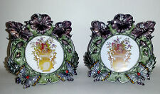 Pewter Enameled Jeweled Picture Frame 2 PIECE set  Flowers and Butterflies