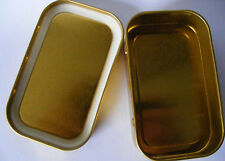 5 x Metal Tobacco Tins 1oz With Rubber Seal Inside The Lid  50ml Gold Colour
