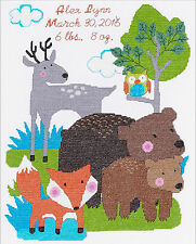Cross Stitch Kit ~ BFF (Best Friends in the Forest) Baby Birth Record #46363