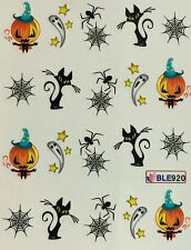 Nail Art Water Decals Halloween Ghost Black Cat Spider Jack-o-Lantern BLE920