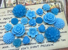 20pcs - Resin Flower Cabochons - Blue