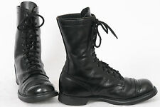DOUBLE H Mens 9.5 US 10 Black Leather COMBAT Jump LACE UP Military Vintage Boots