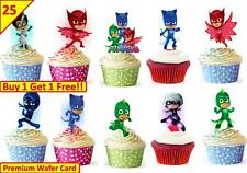 50 PJ MASKS Birthday Cup Cake Fairy Edible Decorations Boys Toppers STAND UP
