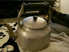 Vintage Swan band kettle 4 pints stove top silver Aga wood burner teapot
