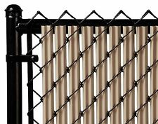 Chain Link Beige Single Wall Ridged™ Privacy Slat For 8ft High Fence Bottom Lock
