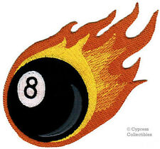 FLAMING 8-BALL iron-on embroidered MOTORCYCLE BIKER PATCH eight POOL BILLIARDS