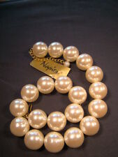 "NEW Napier Huge Faux Pearl and Gold Heavy Chunky 18"" Necklace NWT"