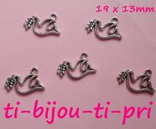 LOT de 15 PENDENTIFS perles breloque COLOMBE DOVE PEACE PAIX 19x13mm SANS NICKEL