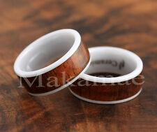 8mm White Ceramic Flat Comfort Fit  Inlaid  Koa Wood Wedding Ring