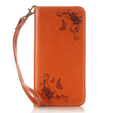 Card Holder Leather Flip Wallet Case Cover Stand Floral For Samsung Galaxy Phone