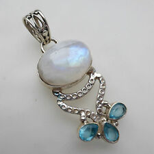 Rainbow Moonstone Blue Topaz Solid 925 Sterling Silver Gemstone Pendant