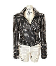 Punk rock Star Studded fitted Faux Leather woman jacket with a matching belt