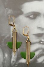 ELEGANT VINTAGE ART DECO 'ODEONESQUE' OLIVE GREEN BAKELITE EARRINGS