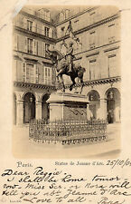 OLD POSTCARD - FRANCE - PARIS - Statue de Jeanne d'Arc - 1904 - Grand Hotel Card