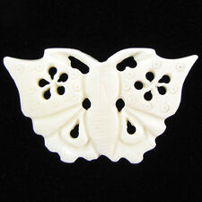 52mm white bone carved butterfly pendant bead