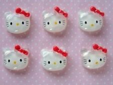 20 Acrylic Glass Kitty Cat Red Bow Flatback Button/DIY Craft Decor/Bead B1-Red