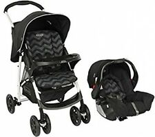 New Travel System Pushchair With Car Seat and Raincover Easy Fold - Black ZigZag