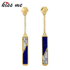 KISS ME Trendy Blue with White Synthetic Stone Rectangle Long Earrings ed01078a