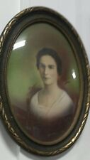 16.50 x 23 Vintage Wood Oval Picture Frame Concave Glass OLd Lady