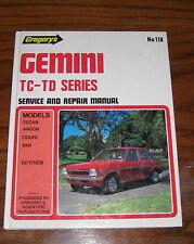 holden gemini tc - td series service and repair  manual