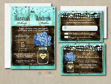 100 Wedding invitations Suite Blue Hydrangea Rustic Style with Envelopes