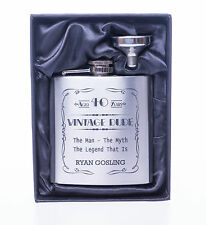 Engraved VINTAGE DUDE Birthday Hip Flask in Gift Box For Mens/Dad/65th/70th/75th