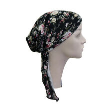 Pretied Bandana Black with Pink Roses Headscarf  Chemo Modest Womens Head Cover