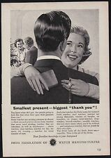 1950s advert for SWISS Federation of Watch Manufacturers smallest present 1956