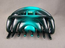 "Teal Black ombre metallic plastic BIG hair clip claw clamp 3.75"" long"