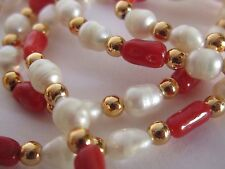 VINTAGE FINE FRESHWATER PEARL CORAL & GOLD BEAD NECKLACE