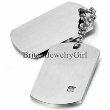 Military Style Double Dog Tag Pendant Men's Stainless Steel Chain Necklace Gift